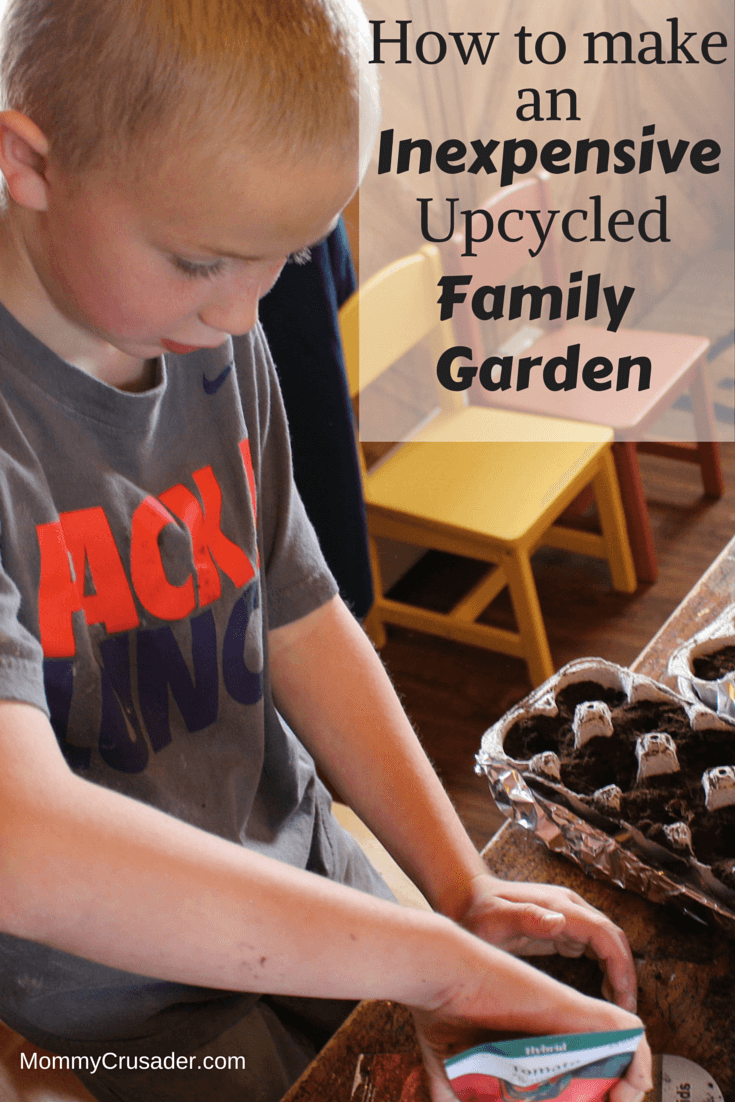 There are so many ways to make a family garden. This year I've started my garden for $50. Here's how to make an inexpensive upcycled family garden.