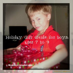 Holiday Gift Guide for Boys; ages 7 to 9