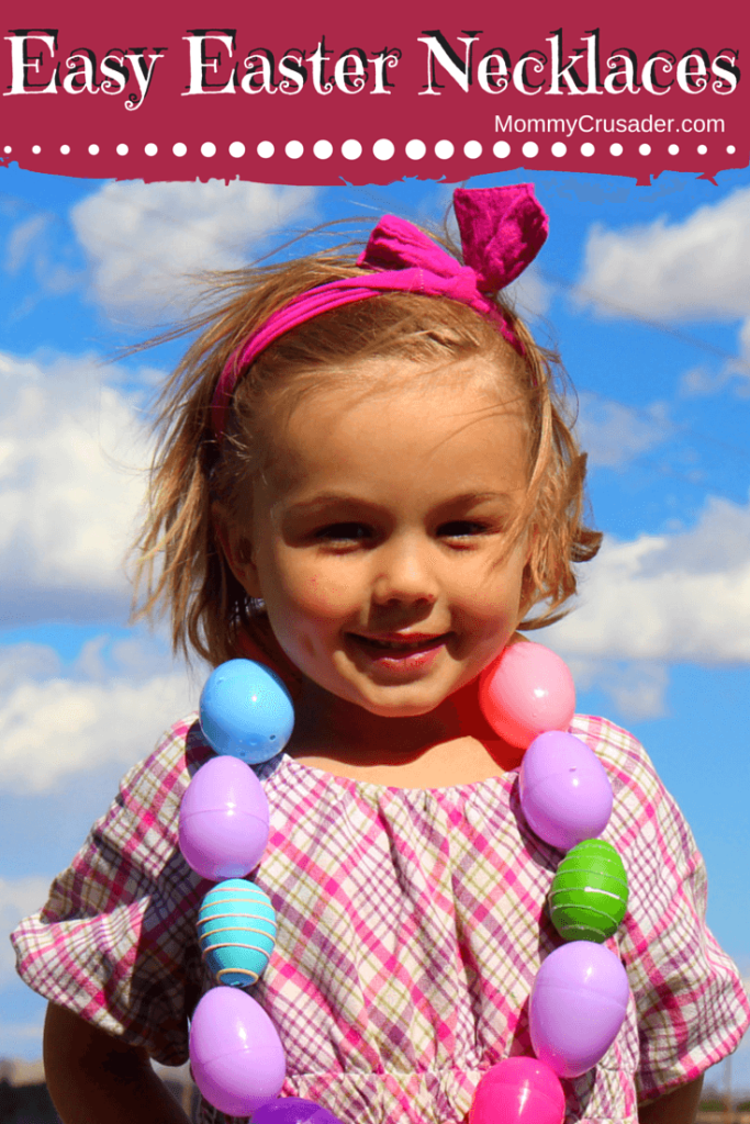 We sat down on Saturday and made these fantastic, whimsical, and easy Easter necklaces in just a few moments. The kids enjoyed themselves immensely and created something fun to wear for the Easter egg hunts. As an added bonus, they all practiced their fine motor skills threading the eggs.