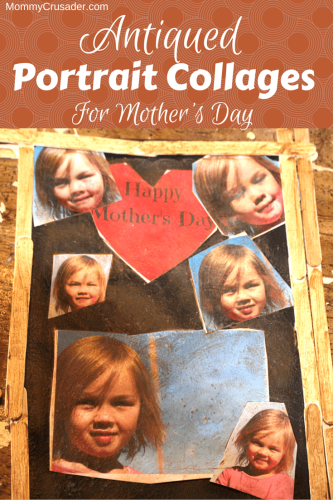 These simple but fantastic antiqued portrait collages make great memory gifts for Mother's Day and only take an hour to complete.