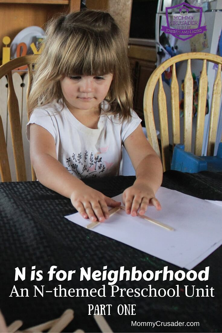 My next preschool unit, N is for Neighborhood, looks at choices & a letter formation review in part one. Part two focuses on neighborhood helpers & writing.